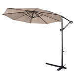 Beige 10-Ft Outdoor Steel Pole Tilt Crank Offset Patio Umbrella