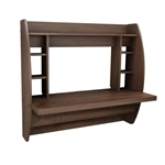 Modern Floating Wall Mounted Home Office Computer Desk in Brown Wood Finish