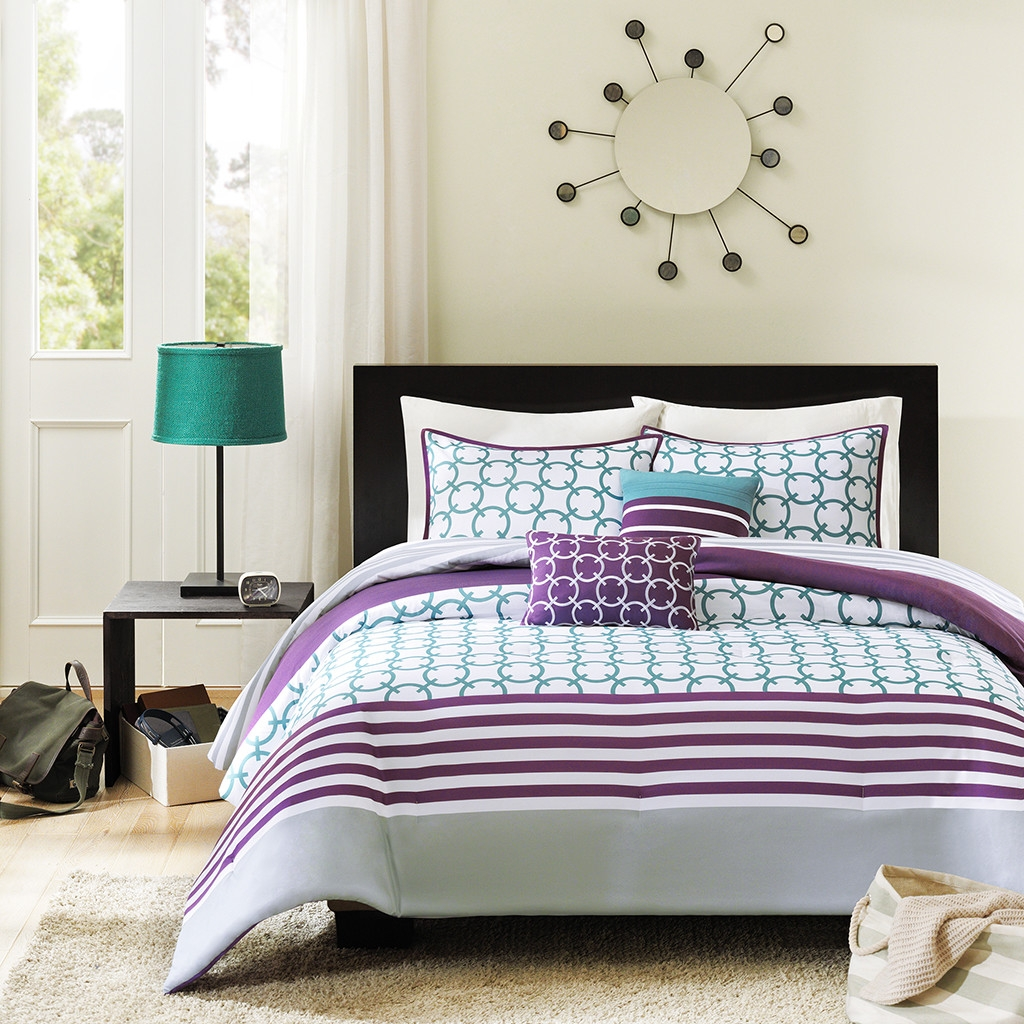 Purple bed sets queen - Twin Twin Xl 4 Piece Comforter Set Purple White Teal Circles Stripes