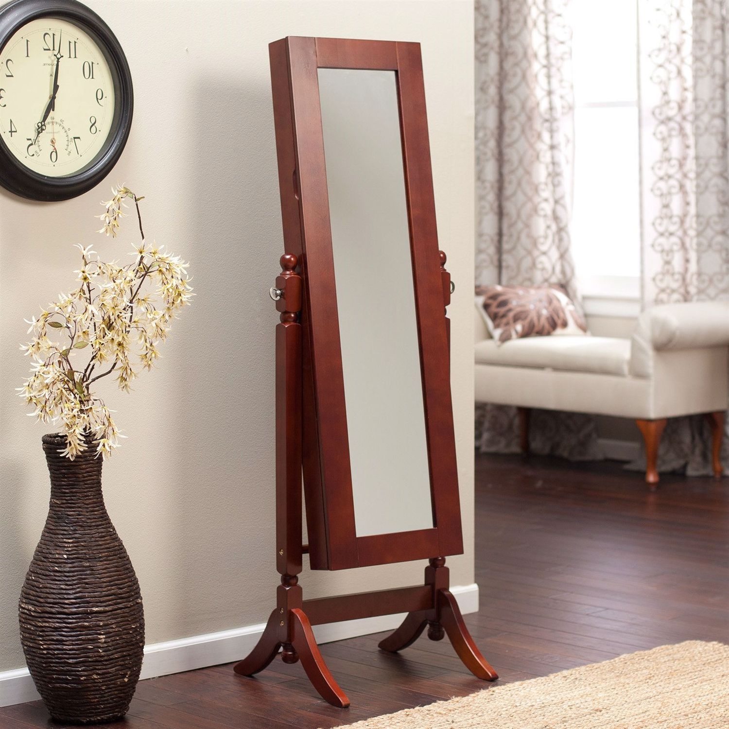 Lovely Full Length Tilting Cheval Mirror Jewelry Armoire In Cherry Wood Finish