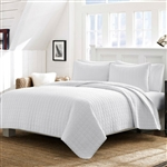 King White Reversible 100% Cotton Square Stitch Quilt Set