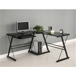 Black L-Shaped Computer Desk with Glass Top and Steel Frame