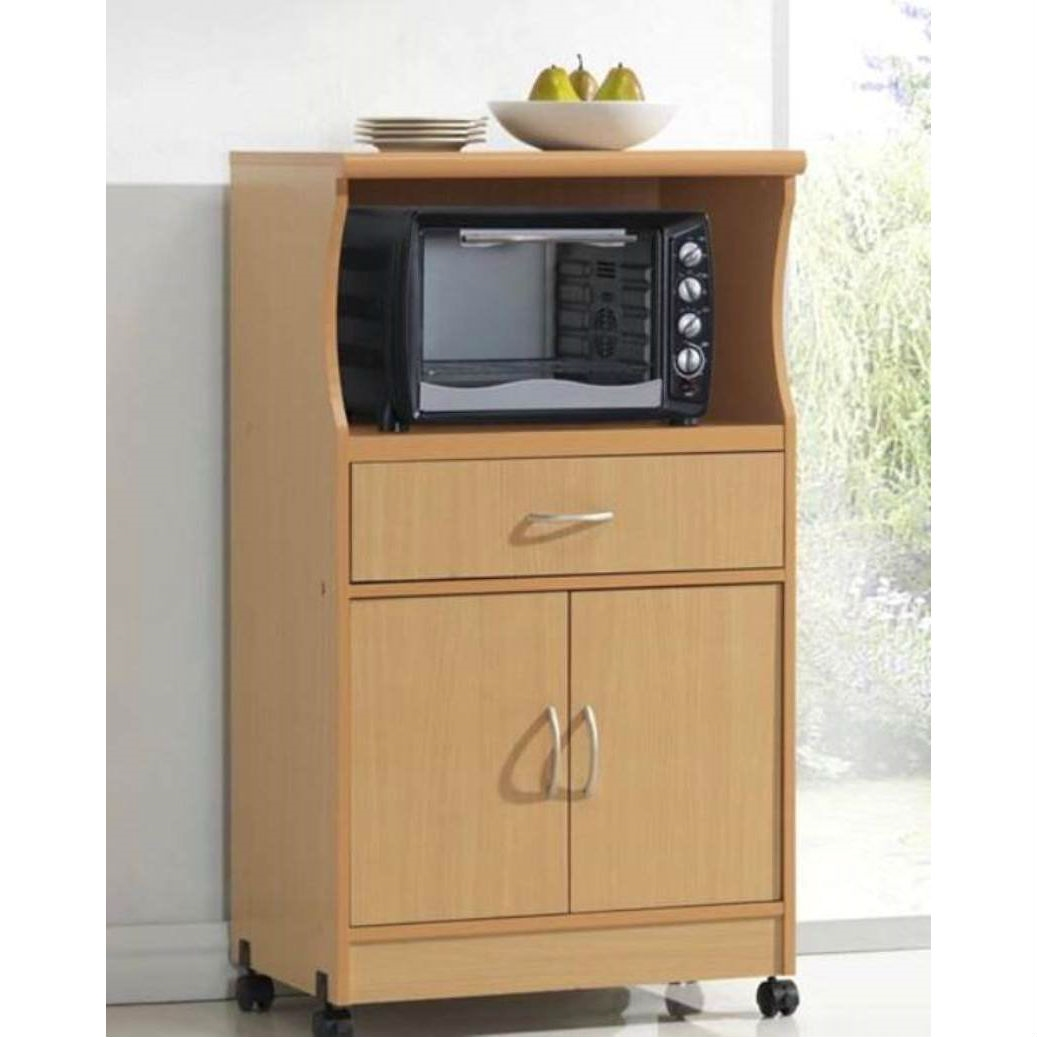 Beech Wood Microwave Cart Kitchen Cabinet With Wheels And Storage Drawer Fastfurnishings