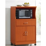 Mahogany Wood Finish Kitchen Cabinet Microwave Cart