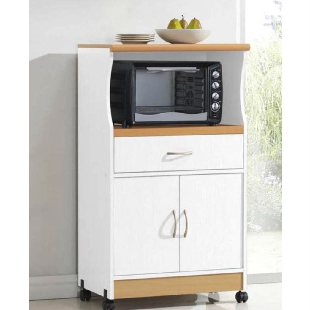 White Kitchen Utility Cabinet Microwave Cart With Caster Wheels Fastfurnishings