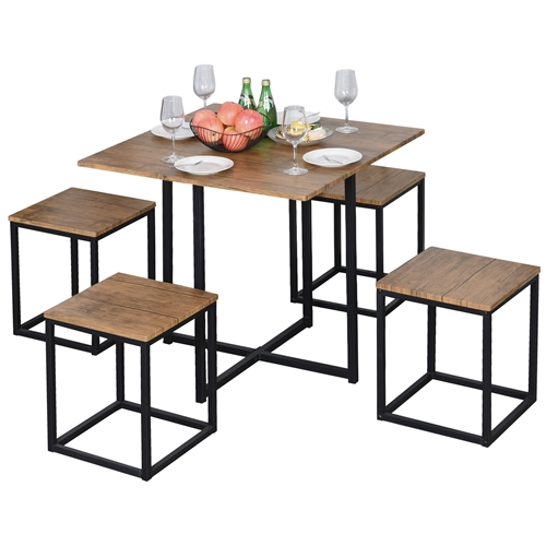 Farmhouse 5 Piece Square Walnut Wood Steel Kitchen Dining Set