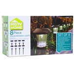 8-Piece Outdoor Pathway Solar Lights with Rechargeable Batteries