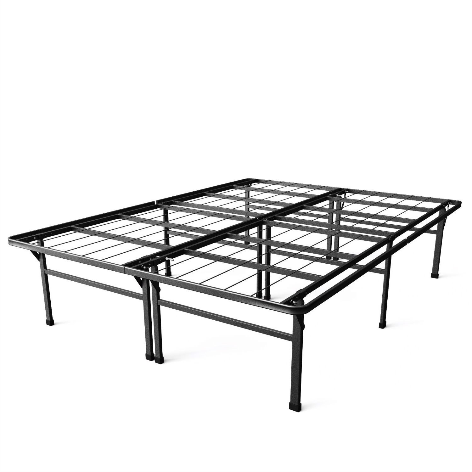 - Full Size 18-inch High Rise Folding Metal Platform Bed Frame