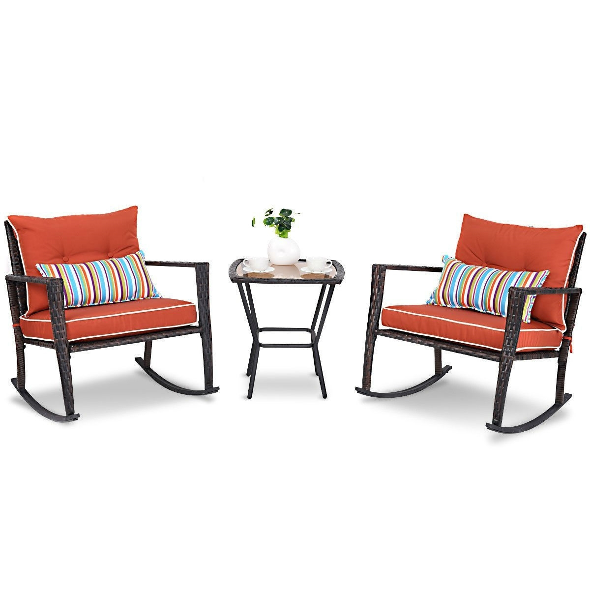 Red 3 Piece Patio Set Rattan Wicker Rocking Chairs With Coffee Table Fastfurnishings