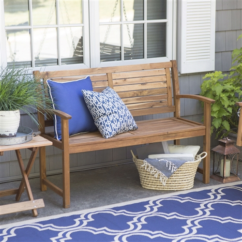 Outdoor 4-Ft Classic Slat Back Garden Bench Patio Arm Chair in Acacia Wood