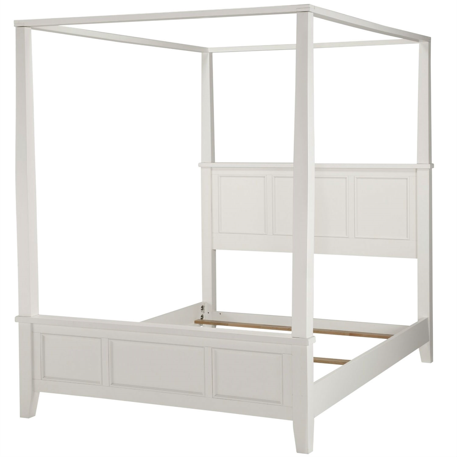 Queen size Canopy Bed in Contemporary White Wood Finish ...