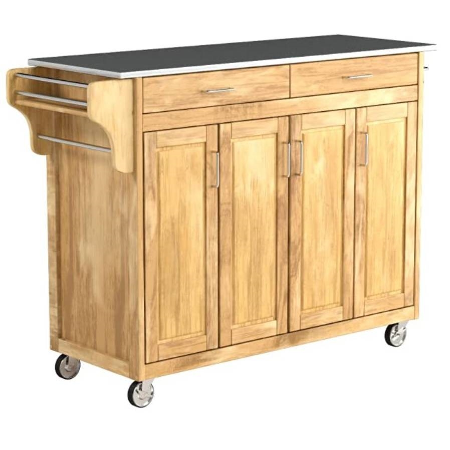 Stainless Steel Top Portable Kitchen Island Cart In White Finish Fastfurnishings