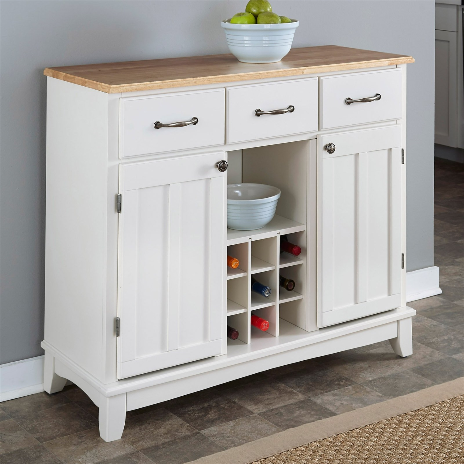 Natural Wood Top Kitchen Island Sideboard Cabinet Wine