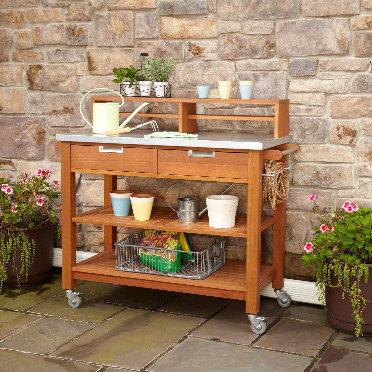 Potting Table Rust Resistant Steel Top Potting Bench Work Table With Locking