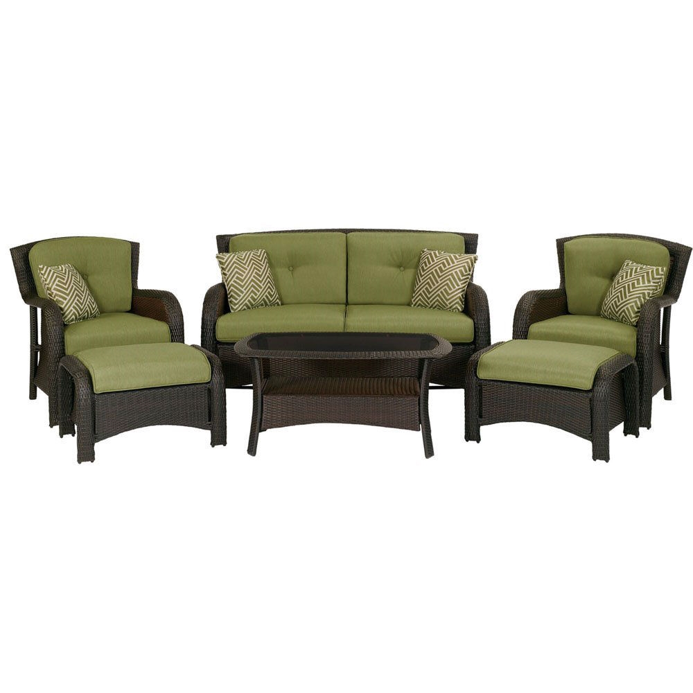 Outdoor Resin Wicker 6 Piece Patio Furniture Set With Green Seat Cushions