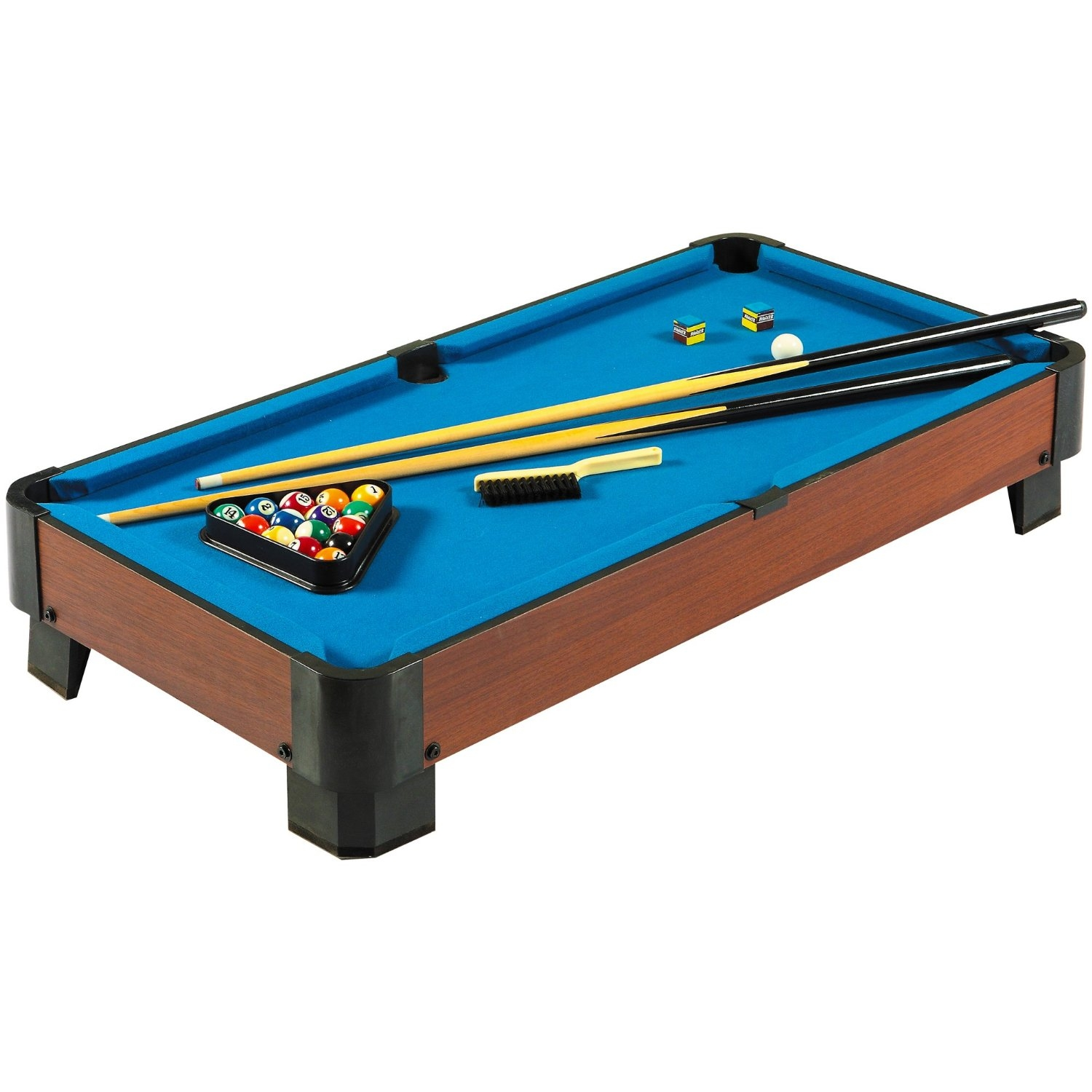 Charmant 40 Inch Pool Table With Blue Felt Surface 2 Cues And Billiard Balls