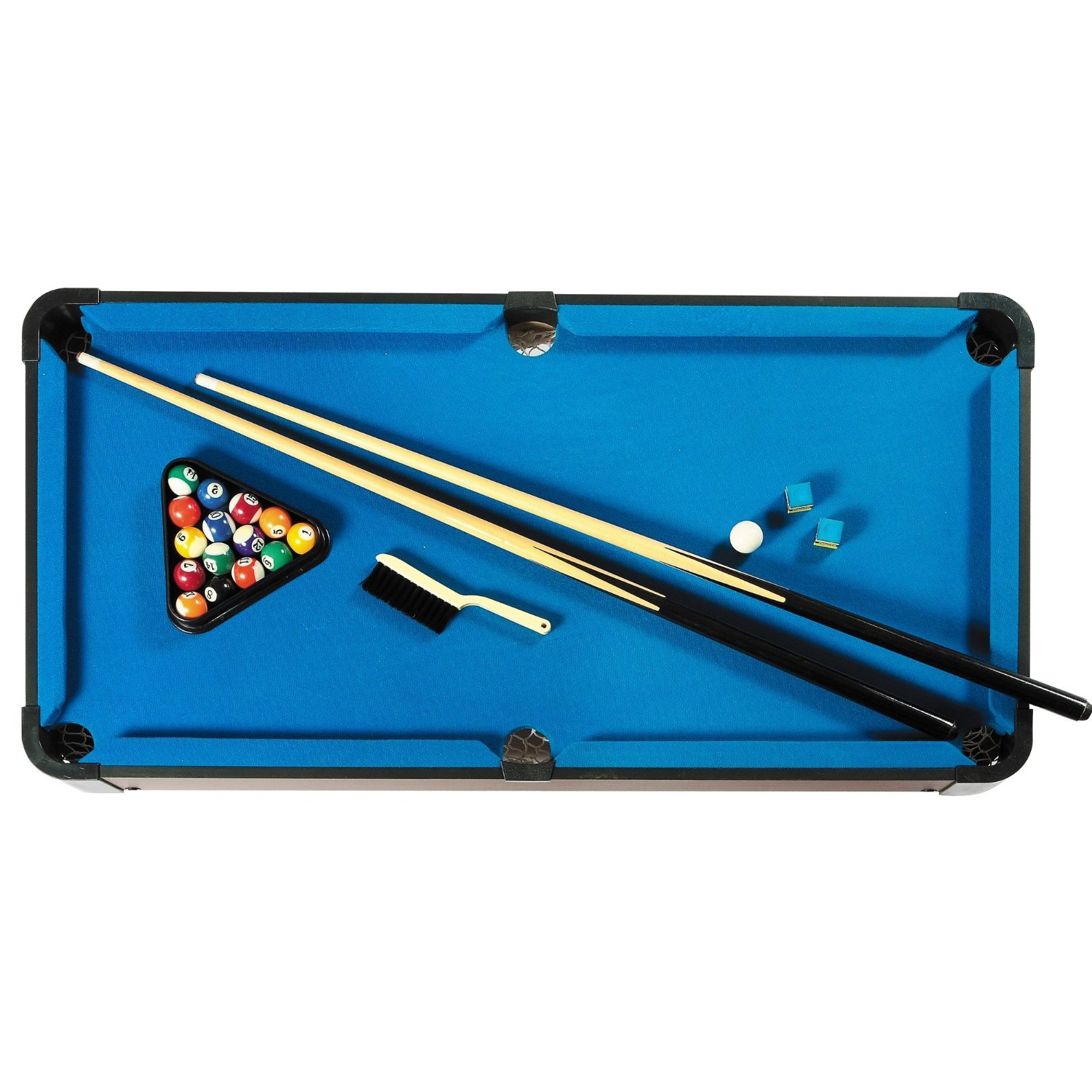 Inch Pool Table With Blue Felt Surface Cues And Billiard Balls - 40 inch pool table