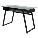 Modern Black Frame Glass Top Computer Desk Writing Table with Open Shelf