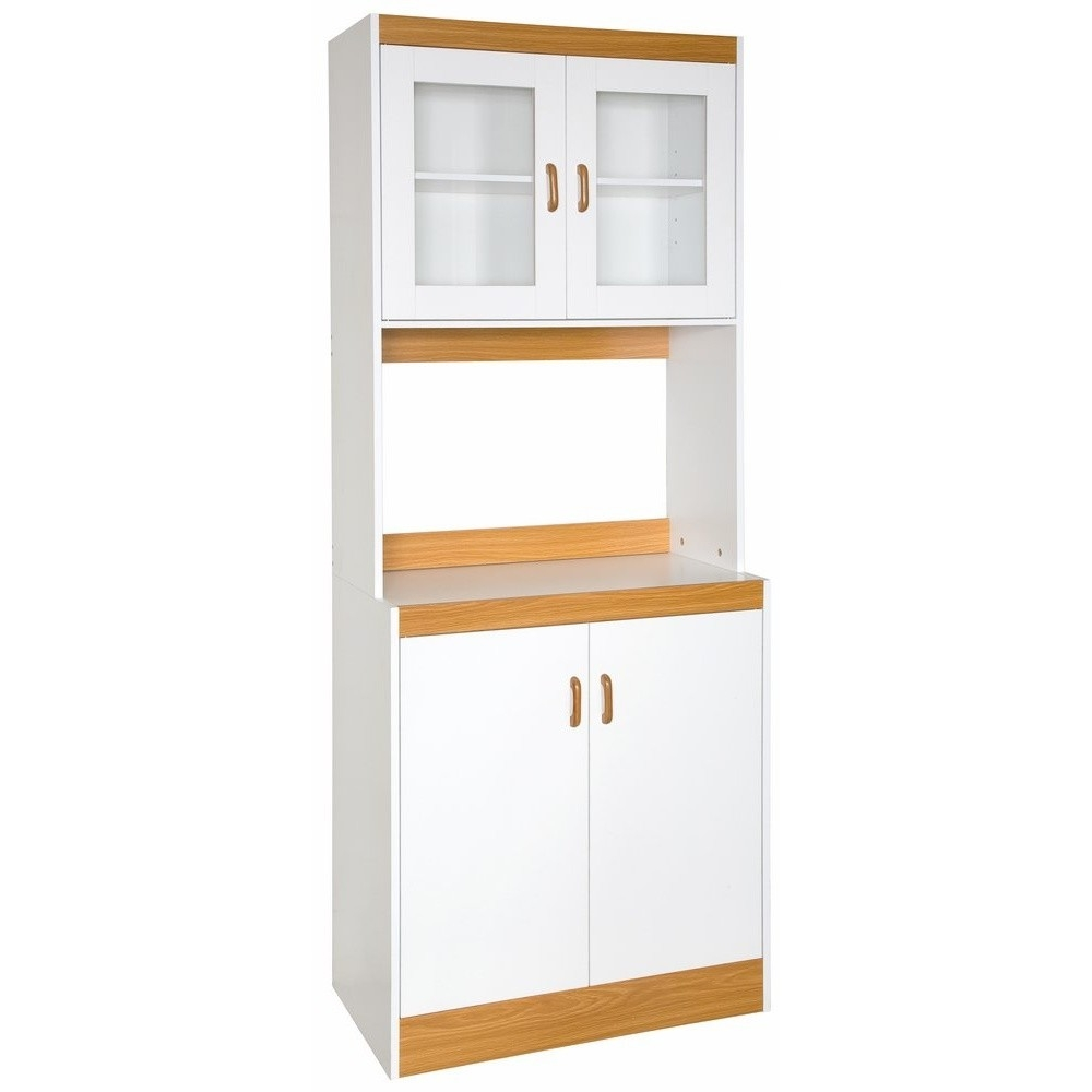 Elegant Tall Kitchen Storage Cabinet Cupboard With Microwave Space