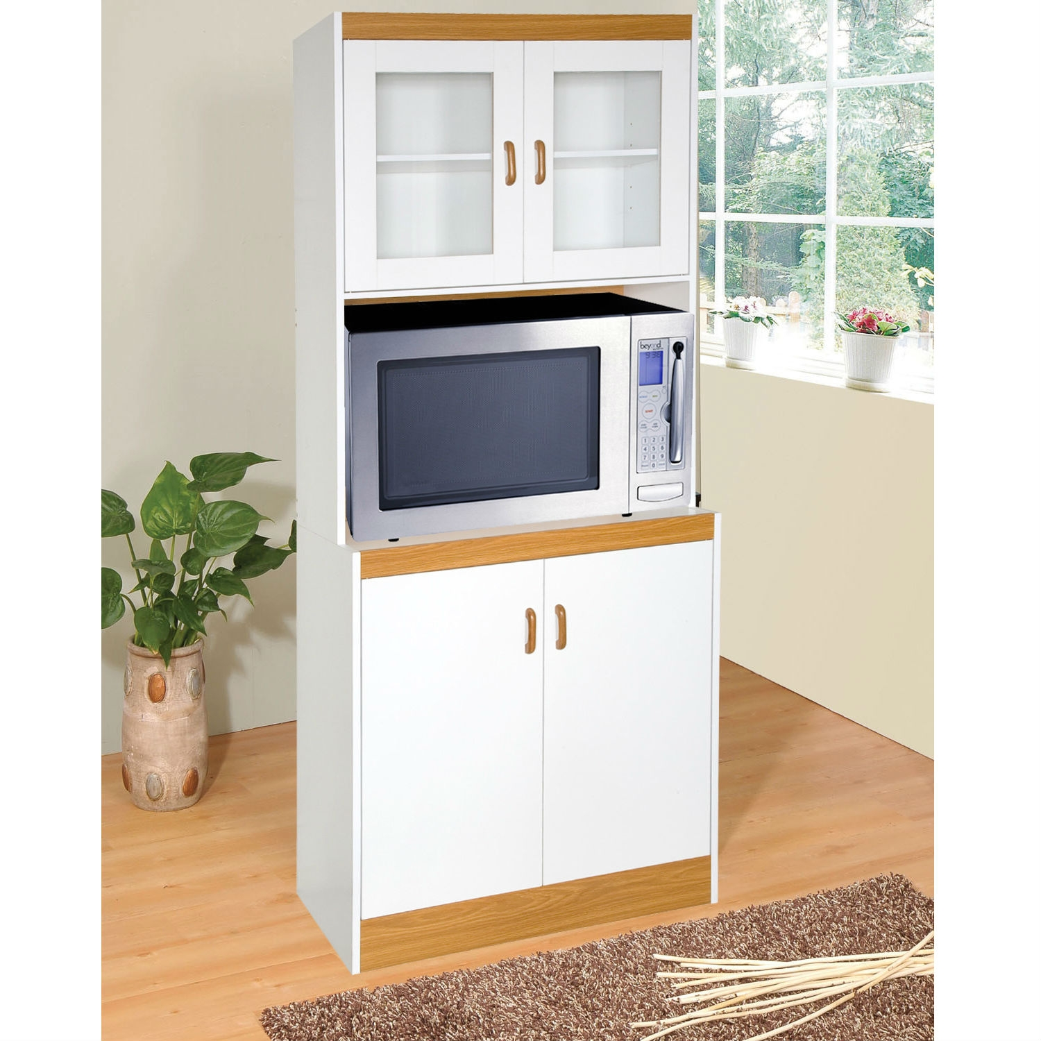 Tall Kitchen Storage Cabinet Cupboard with Microwave Space ...