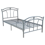 Twin size Silver Metal Platform Bed Frame with Headboard & Footboard