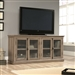 Salt Oak Wood Finish TV Stand with Tempered Glass Doors - Fits up to 80-inch TV