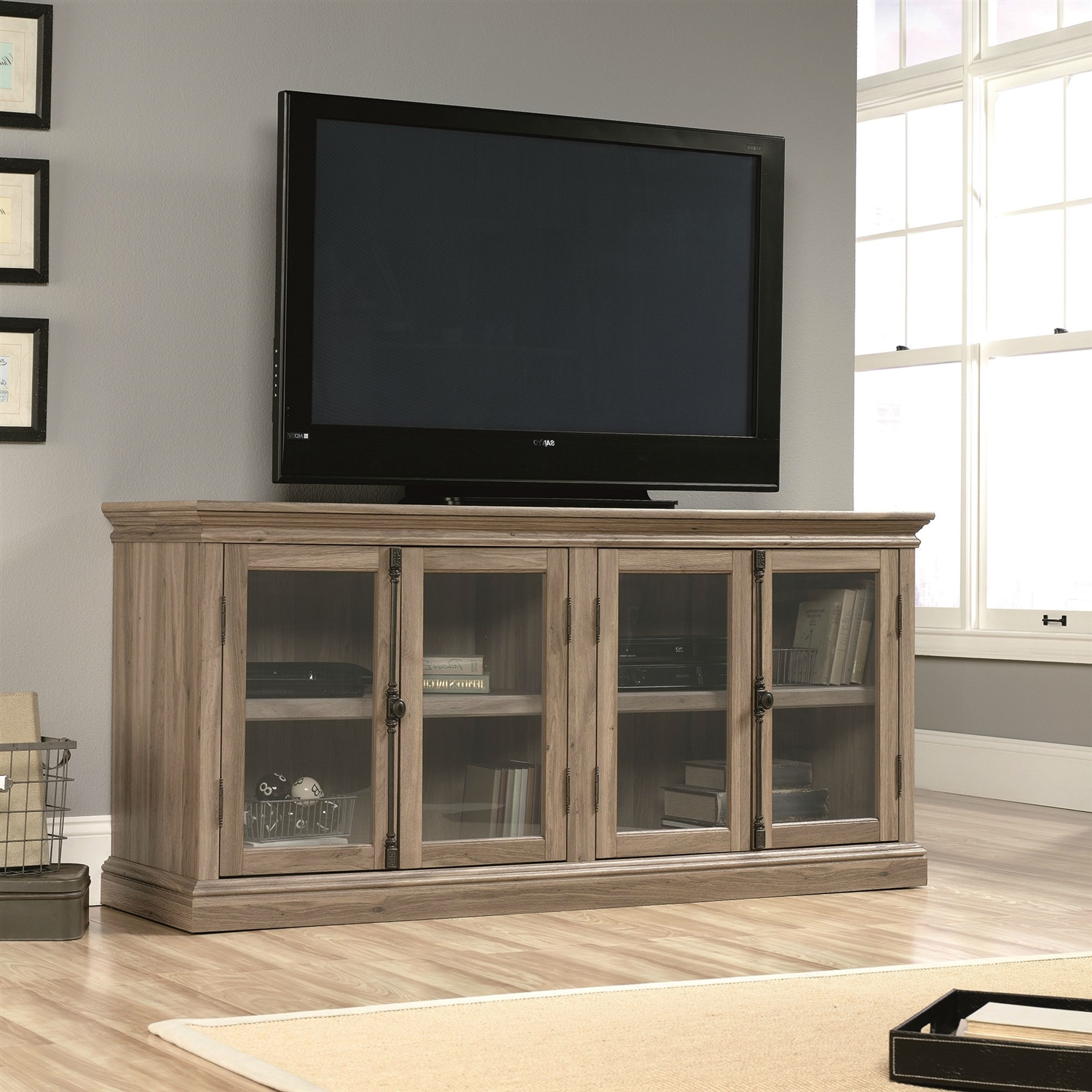 Salt Oak Wood Finish TV Stand With Tempered Glass Doors  Fits Up To 80 Tv Stand 80 Inches Wide41