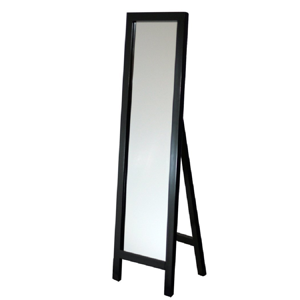 Contemporary Free-standing Floor Mirror in Espresso Wood Finish ...