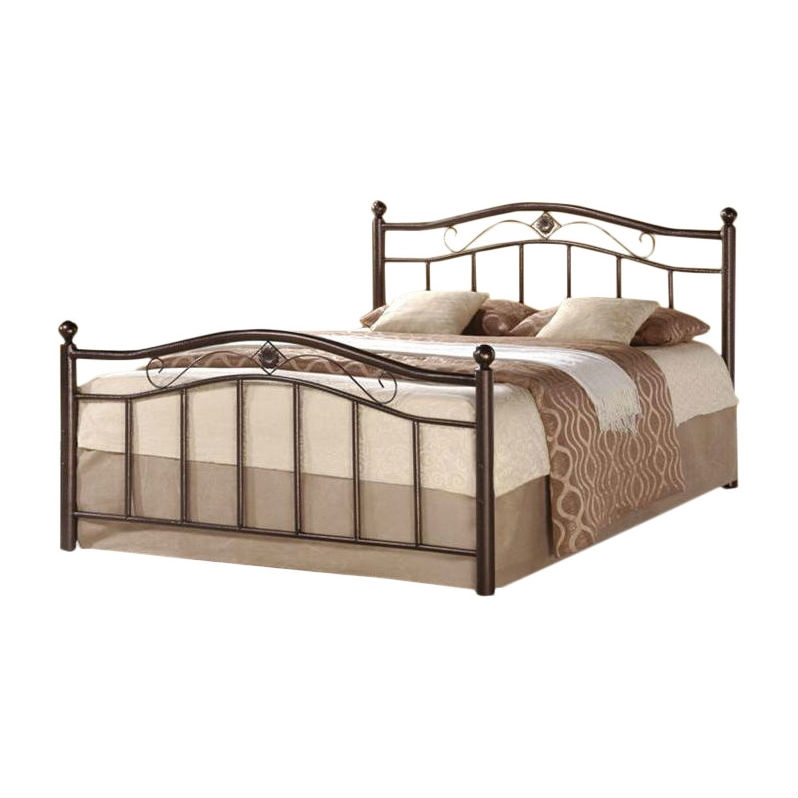Twin Metal Platform Bed with Headboard & Footboard in Brushed Bronze ...