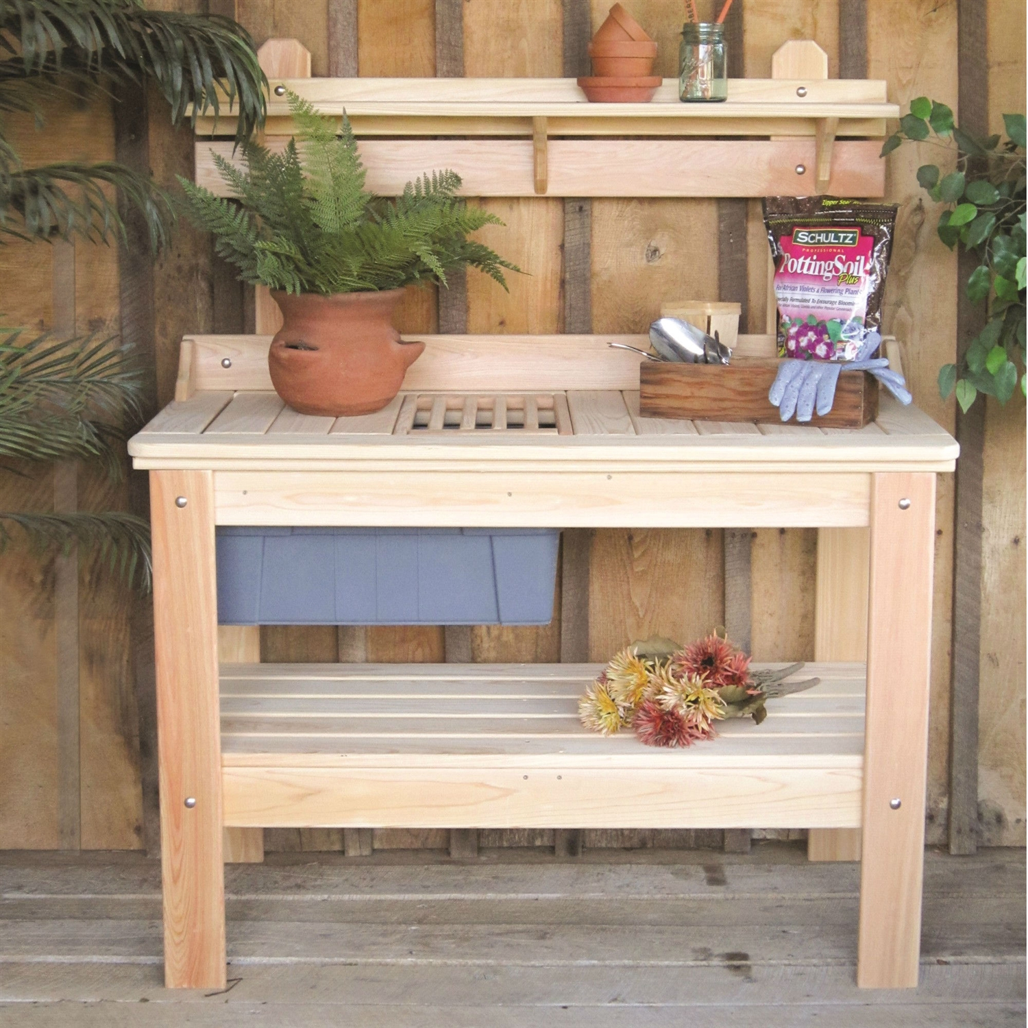 Wooden Potting Bench Garden Table Made In Usa Fastfurnishings Com