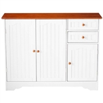 White Wood Sideboard Buffet Cabinet with Walnut Finish Top and Knobs