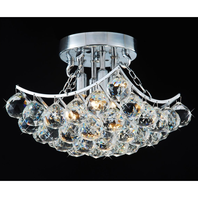 Indoor 4 Light Chrome And Crystal Flushmount Chandelier