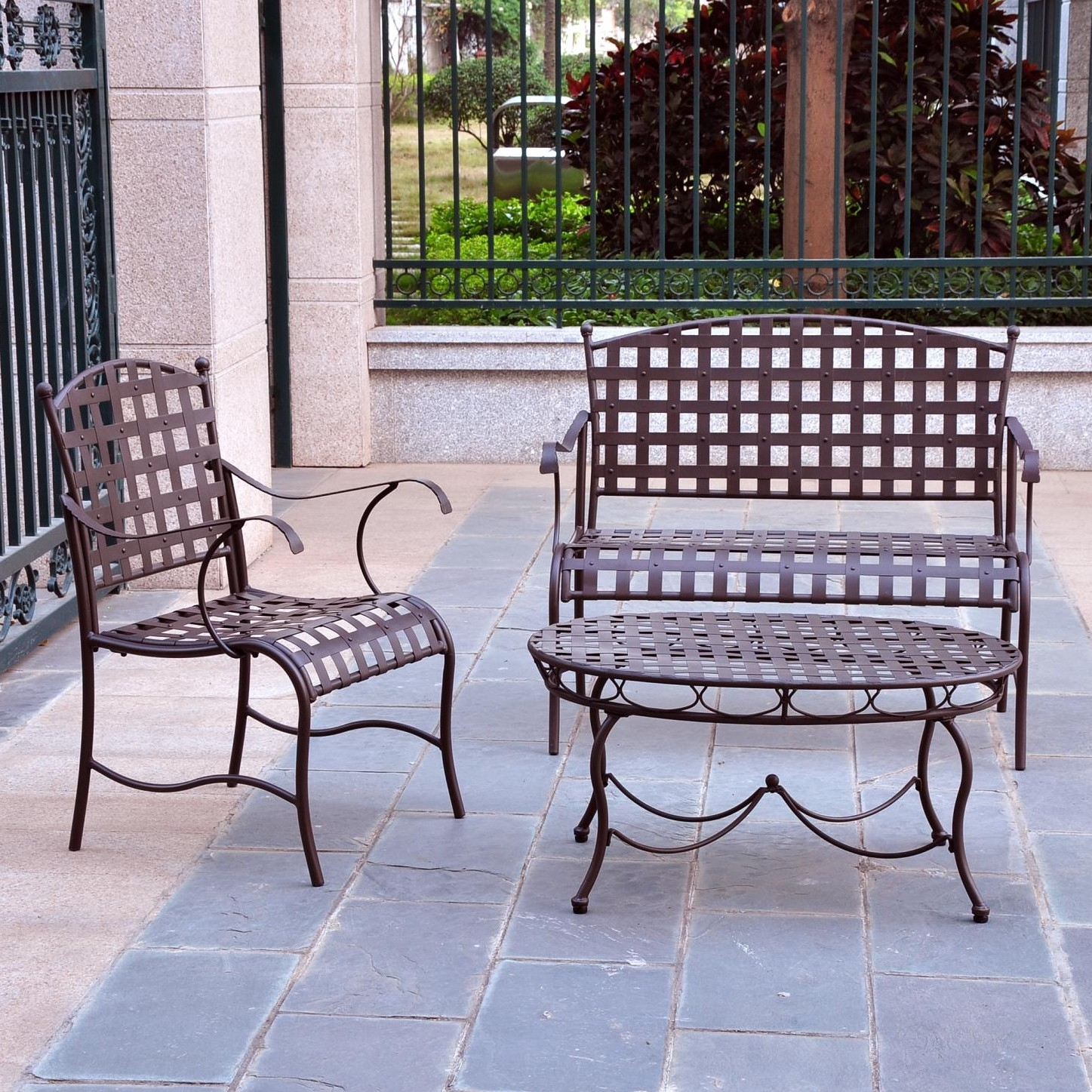3 piece wrought iron patio furniture lounge seating group set fastfurnishings com
