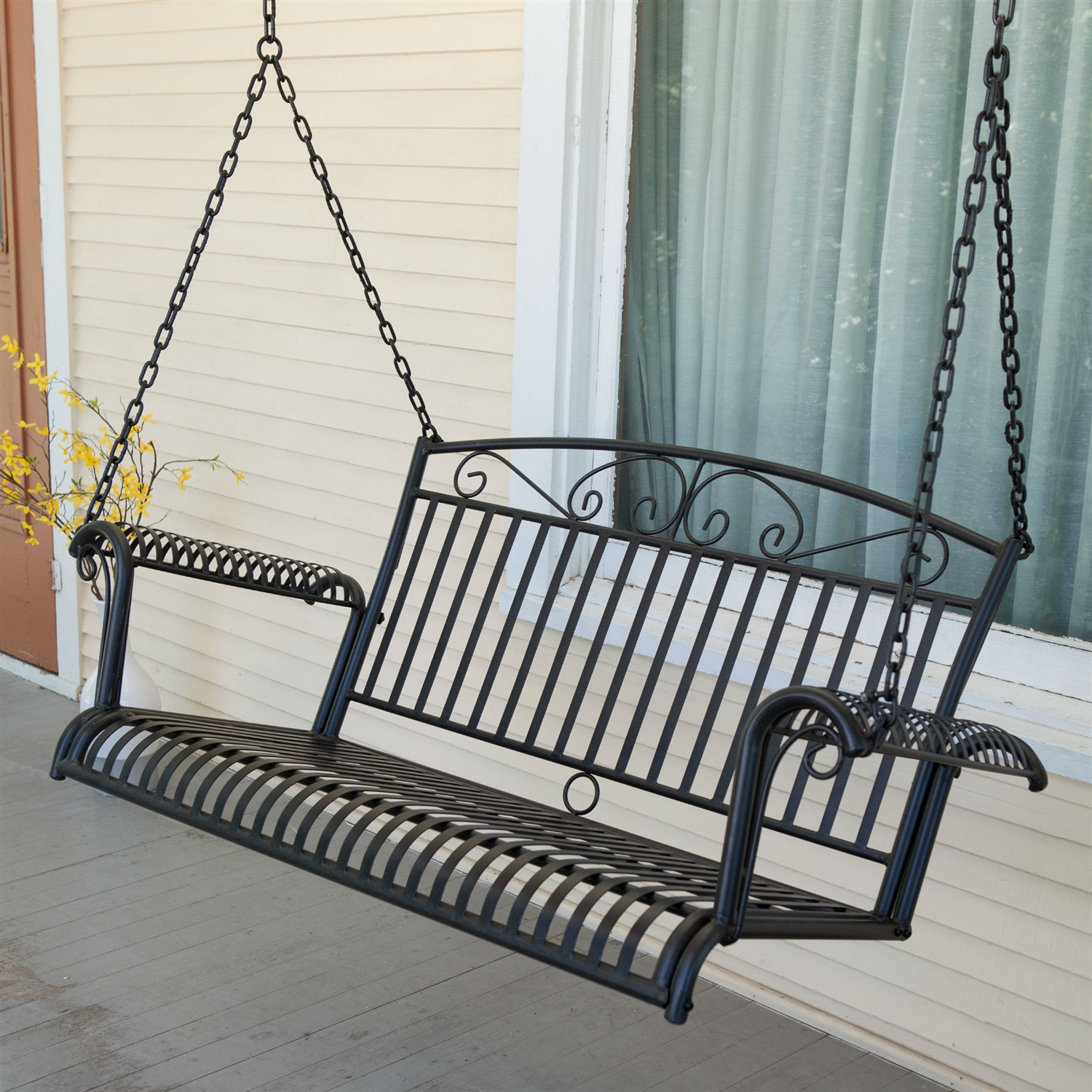 Exceptionnel Wrought Iron Outdoor Patio 4 Ft Porch Swing In Black