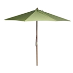 9-Foot Wood Frame Patio Umbrella with Pulley and Olive Green Canopy