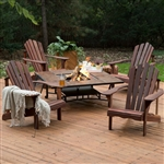 5 Piece Deluxe Adirondack Chair Natrual Wood Burning Fire Pit Chat Set