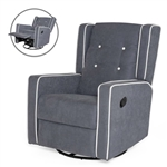 Modern Gray Wingback Polyester Upholstered Swivel Recliner Rocking Chair