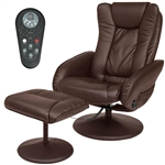 Sturdy Brown Faux Leather Electric Massage Recliner Chair w/ Ottoman