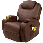 Brown Swivel Heat & Massage Recliner Chair 5 Modes Remote Control