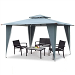 11.5ft x 11.5ft Steel Gazebo Canopy Tent Awning Gray