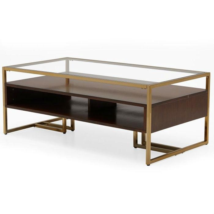 Surprising Modern Steel Brass Plated Walnut Glass Top Retro Coffee Table Evergreenethics Interior Chair Design Evergreenethicsorg
