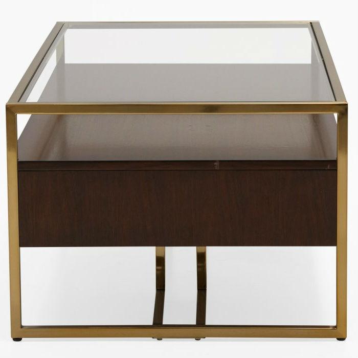 Modern Steel Br Plated Walnut Gl Top Retro Coffee Table