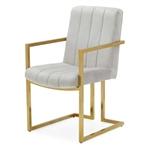 现代灰色天鹅绒通道簇绒黄铜镀复古办公椅