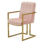现代玫瑰天鹅绒通道簇绒黄铜镀复古办公椅