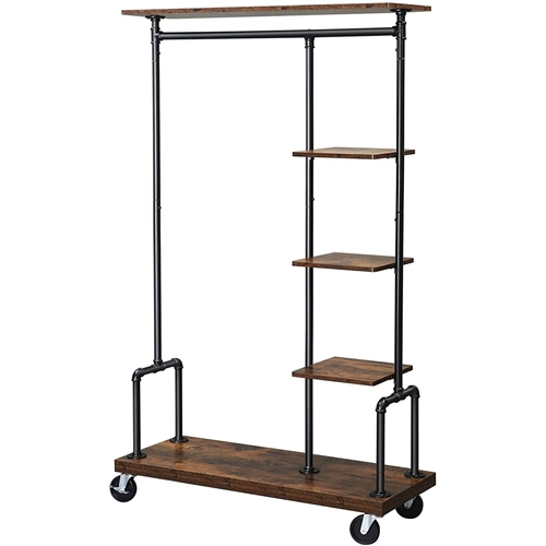 Farmhouse 5 Tier Laundry Pipe Garment Closet Rack Wheels