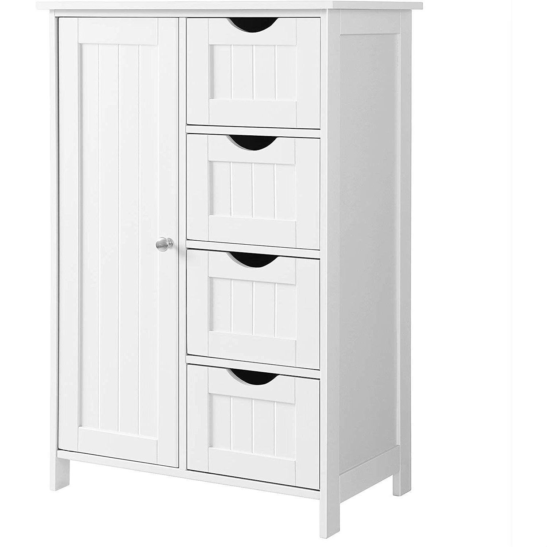 4 Drawer Adjustable Shelf White Bathroom Storage Cabinet Fastfurnishings Com