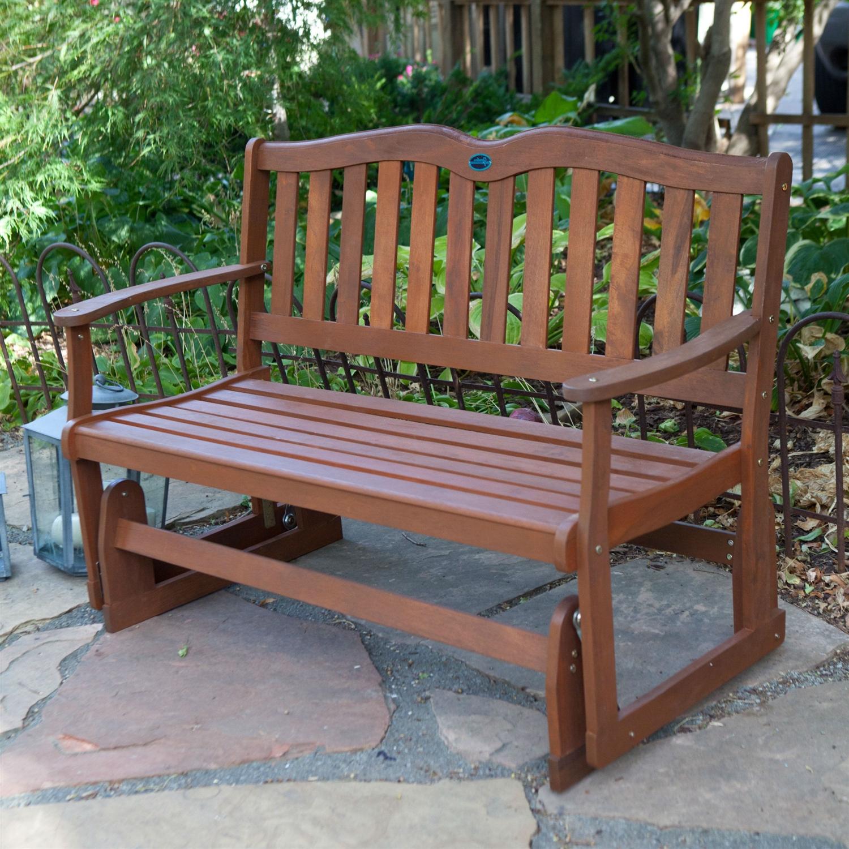 Astounding 4 Ft Outdoor Patio Garden Love Seat Glider Chair In Natural Eucalyptus Wood Machost Co Dining Chair Design Ideas Machostcouk