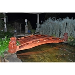 Japanese Style Functional 4-Ft Wood Garden Bridge in Outdoor Sealed Redwood
