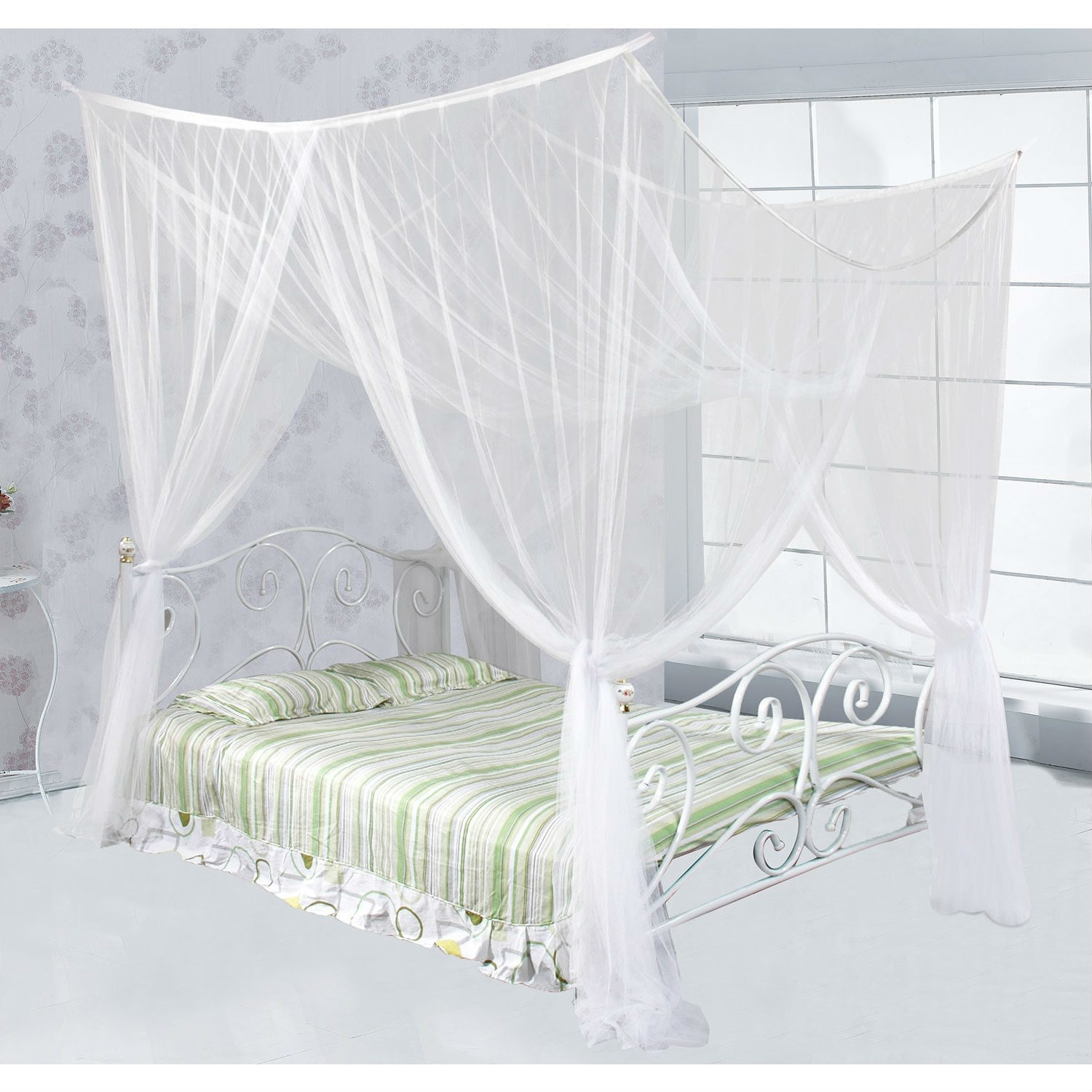 - White Mosquito Net Bed Canopy Mesh Netting - Size Full Queen King