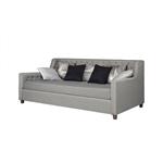 双人尺寸的灰色亚麻软垫沙发床,簇绒细节和木脚